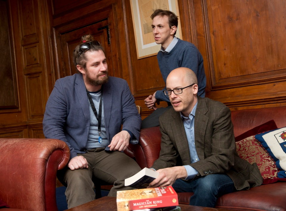 Lev Grossman with students William Badger (left) and Gabriel Schenk (centre)
