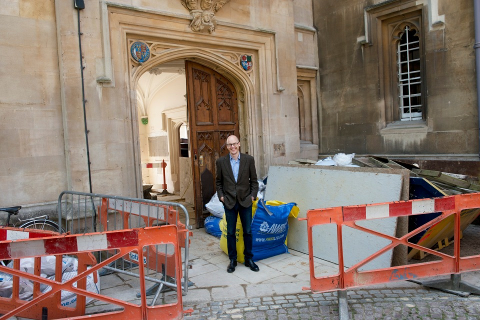Lev Grossman outside Pembroke College, Oxford